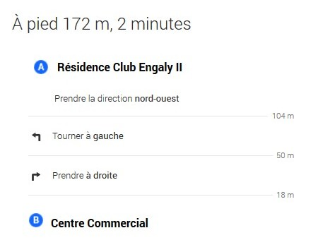 itinéraire résidence club engaly II - centre commercial Piau Engaly